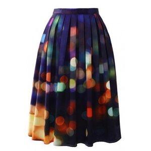 Bokeh Lights Pleated Midi Skirt